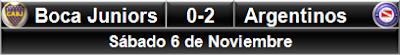 Boca Juniors 0-2 Argentinos Jrs.