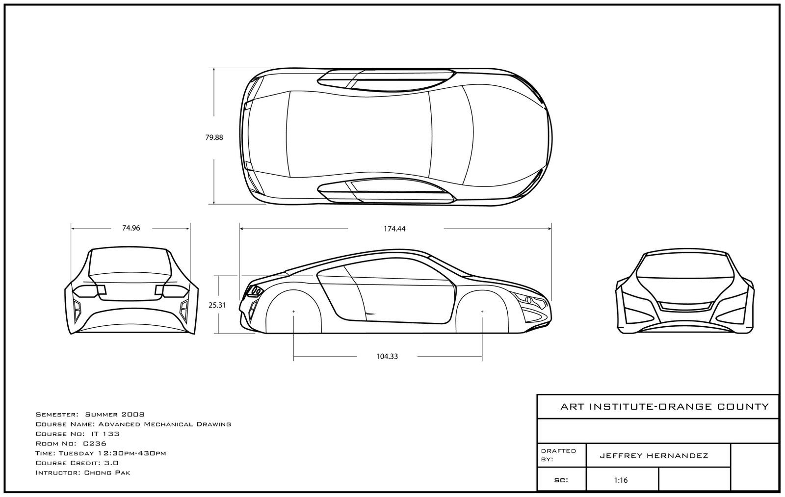 Design of car model - Kique Design Draft Drawing For A Scale Car Model