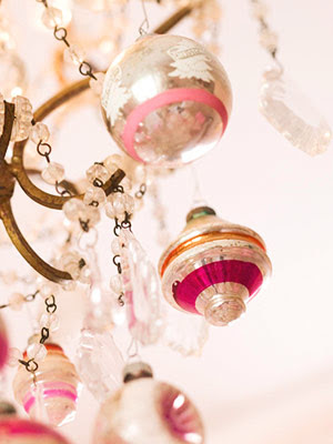 Would have pink glittery bulbs hanging from all my white crystal