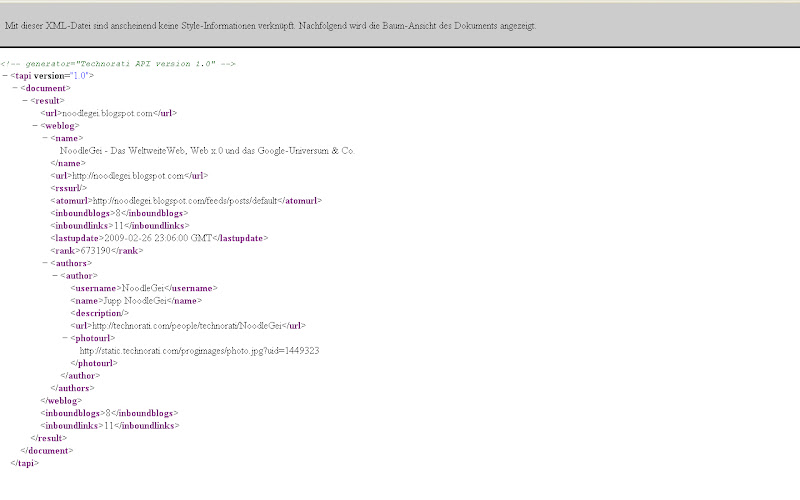 Technorati-XML-Ausgabe