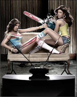 Electra and Elise Avellan, crazy babysitter twins with chainsaws