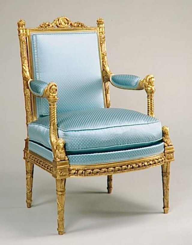 Beau Marie Antoinette Arm Chair By George Jacob In Her Meridian At Versailles  Carved With One Of Her Favorite Dogs At The Top Of The Arm And A Sphinx At  The ...