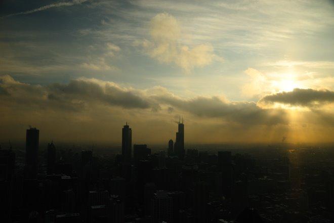 Puesta de sol con la Sears Tower a la derecha