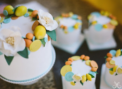 buttons, lemons, flowers cake and mini cakes