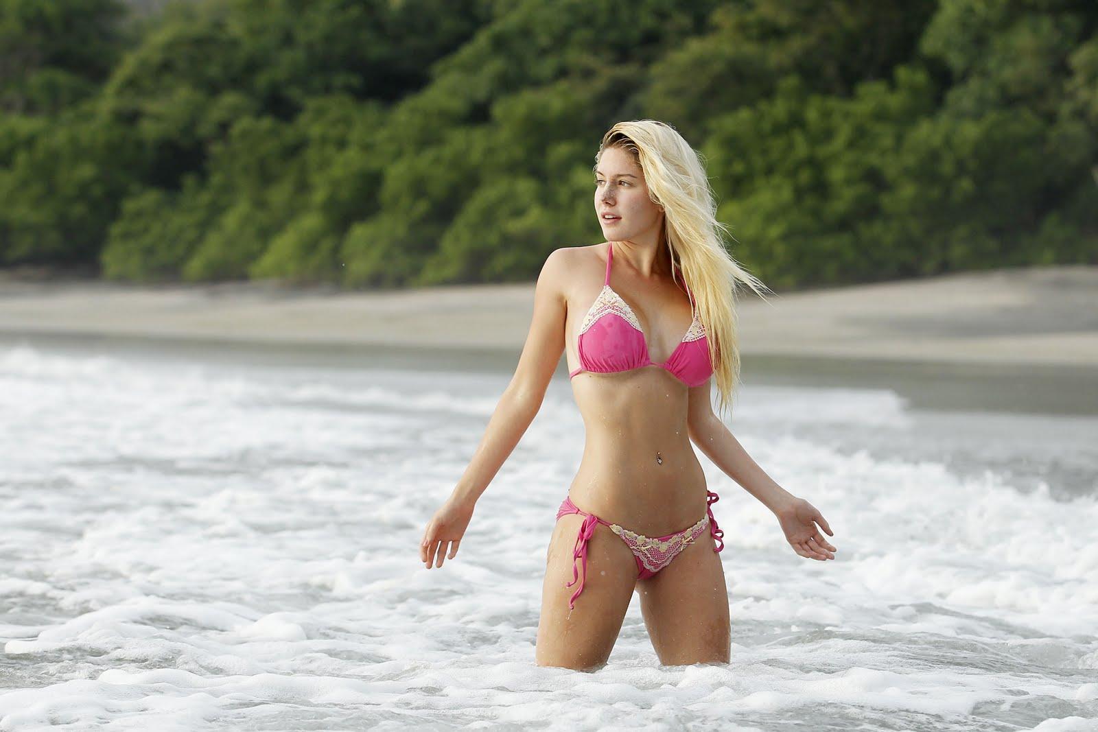 Heidi Montag in Pink Bikini Beach