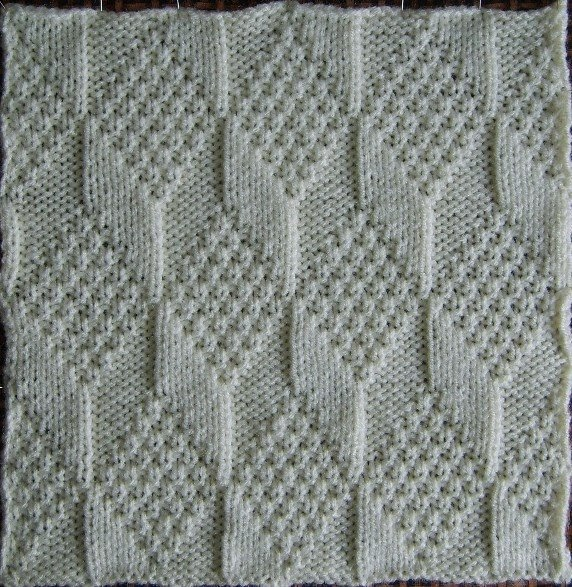 Knitted Quilt Block Patterns : Fat-Quarter: Tumbling blocks