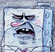 storyboard drawing of SpongeBob wearing straw hat angry at Mr Krabs