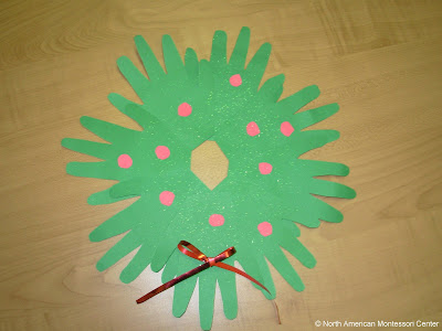 NAMC Montessori Christmas Crafts and Activity Guide 6-12 handprint wreath
