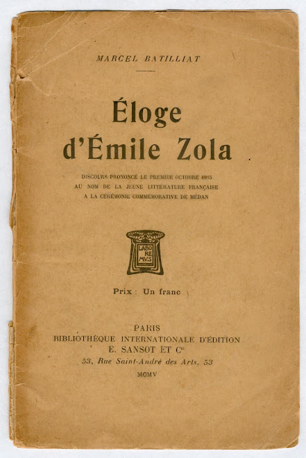 """""""  ÉLOGE - d'Émile Zola  """"  Marcel Batillat"""