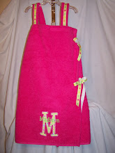 Swimsuit towel cover up with velcro and ribbon closure