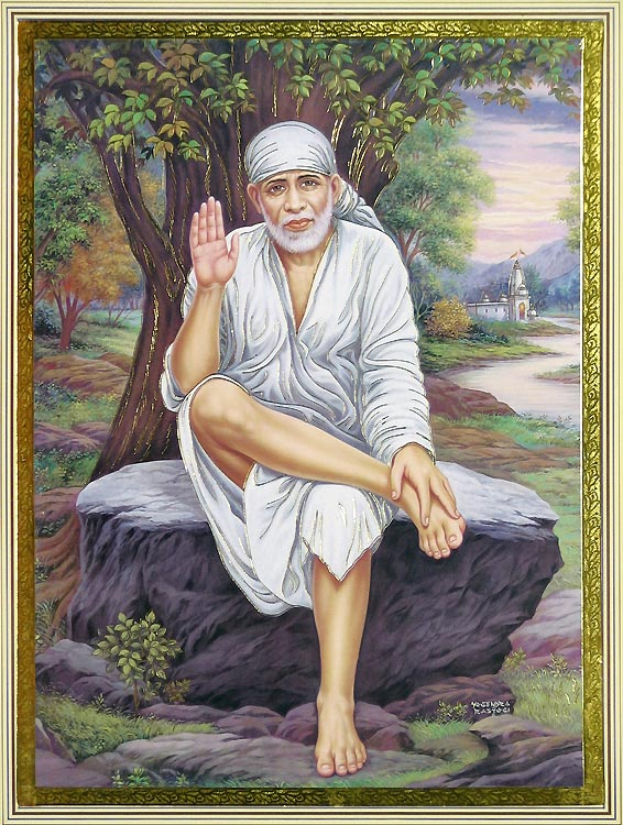 Shirdi Sai Baba Happy Holi High Resolution Wallpaper for Download from