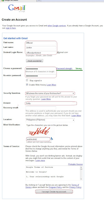 setup Gmail account register form