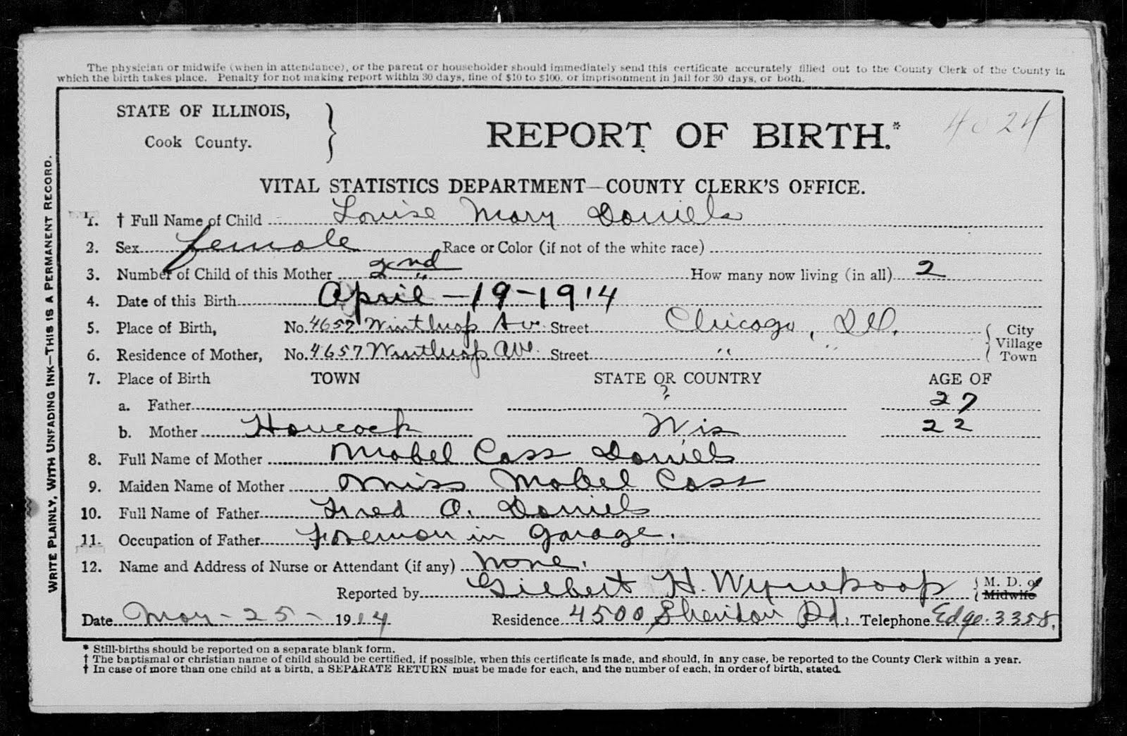 Emery daniels ancestry louise mary daniels birth certificate cook county illinois also had a birth register louise is listed as number 4024 on page 1 of the register along with the birth location and age of the aiddatafo Gallery