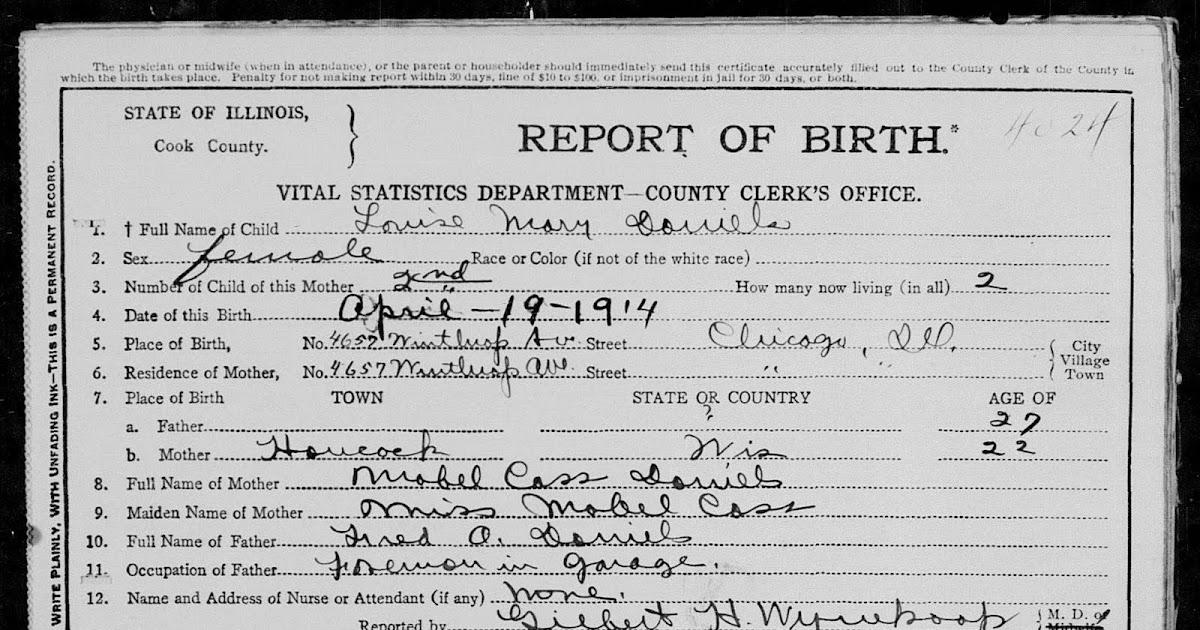 Emery / Daniels Ancestry: Louise Mary Daniels - birth certificate ...