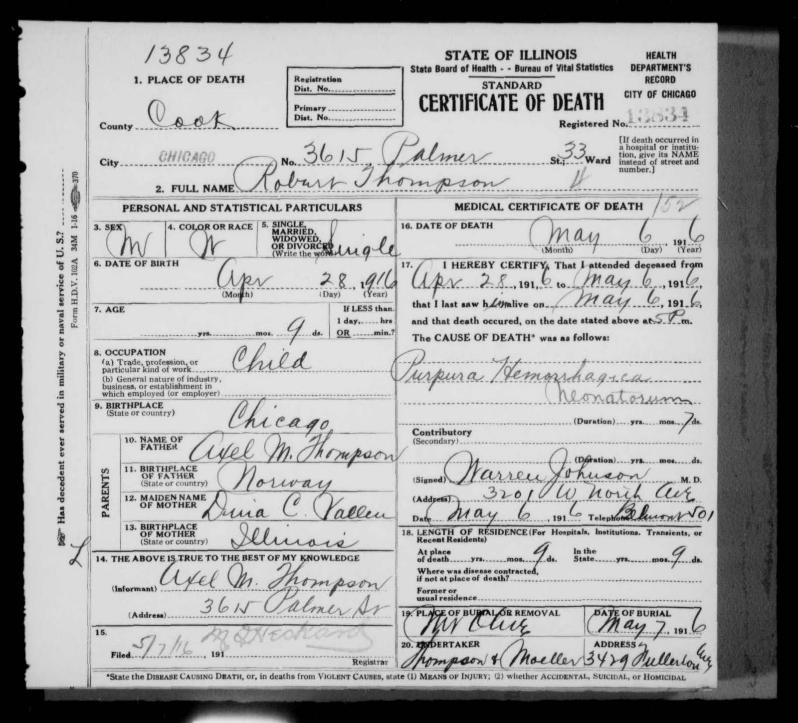 Finnestad ancestry robert thompson death certificate the cook county death certificate indicates robert was buried at the mount olive cemetery in chicago 1betcityfo Choice Image