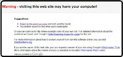 Google search result Site may harm your computer