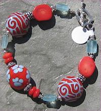 Coral and Aquamarine Lampwork Bracelet