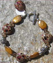 Pebble Lampwork and Copper Coin Pearls