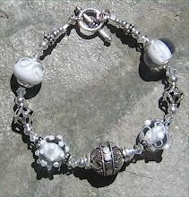 White Lampwork and Bali Silver Bracelet