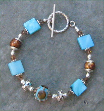 Brown Faceted Pearl and Blue Shell with Lampwork