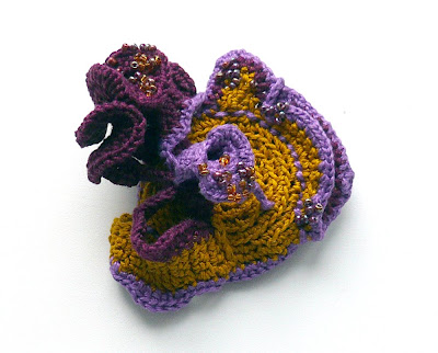 brooch, freeform crochet, textile jewelry, fiber art