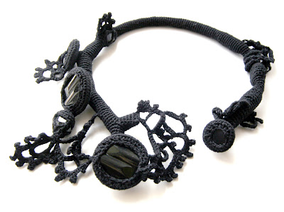 freeform crocheted necklace mystic black