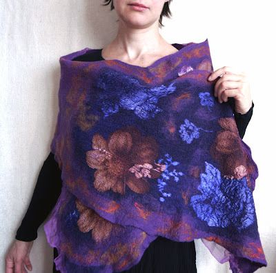 nuno-felt, wool, scarf, wrap, shawl, purple, merino, silk, flower