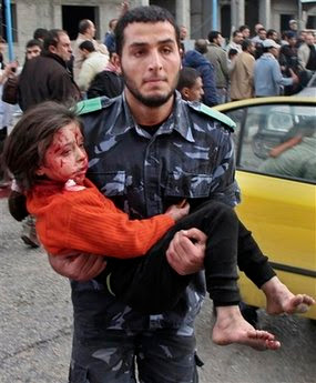 Palestinian security force help the wounded