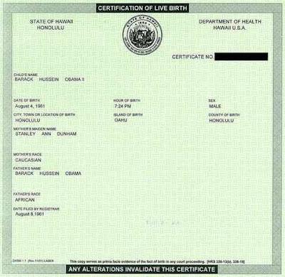 Barack Husein Obama certificate