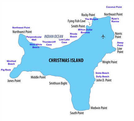 the territory of christmas island is a territory of australia in the indian ocean it is located 2600 kilometres 1600 mi northwest of the western