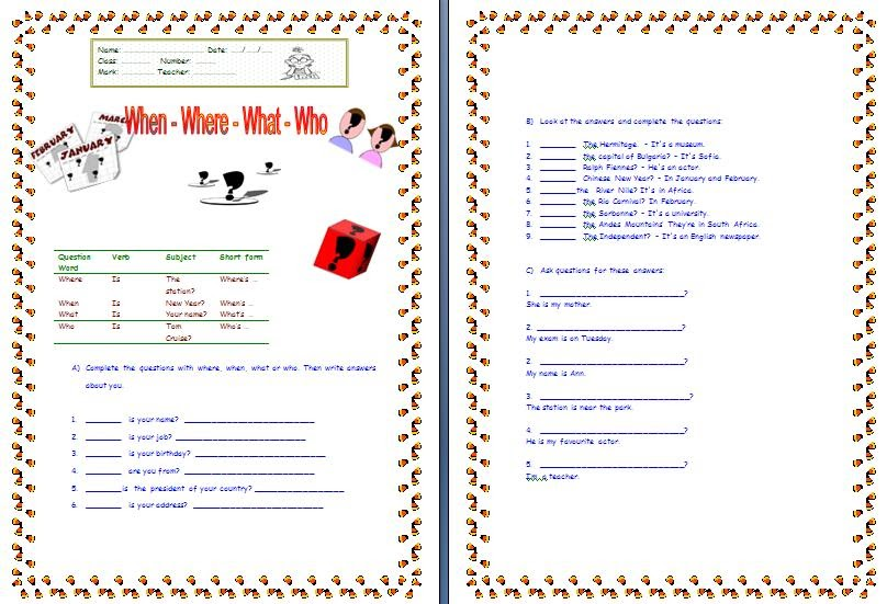 My English Printable Worksheets: Wh- Questions words