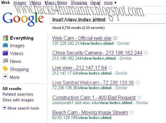 intitle active webcam page. Next Choose a webcam and Enjoy Google Dorks