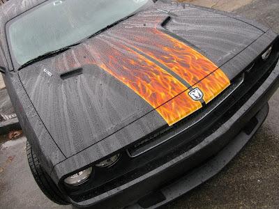 Fire Graffiti Alphabet Brushes On Car