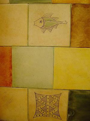 azulejos de baño pintados, reciclado, restauración, hecho a mano