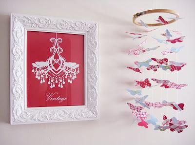 movil de mariposas de tela, hecho a mano