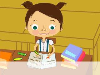 Khunlee, dibujo de niña con coletas estudiando