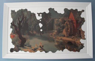 antes y después de un marco con una lámina de un paisaje