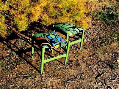 Antes y después de una sillas, tapizar, tela, recuperar