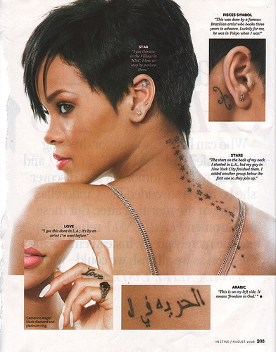 rihanna-shoulder-tattoo. Rihanna was spotted getting a tattoo on her neck at