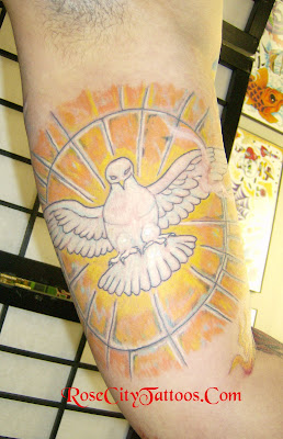 Stained Glass Dove Tattoo