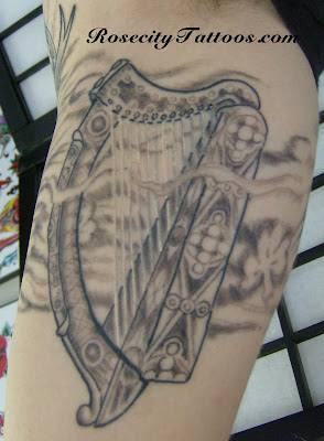 celtic harp tattoo