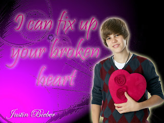 Justin Bieber with heart wallpaper