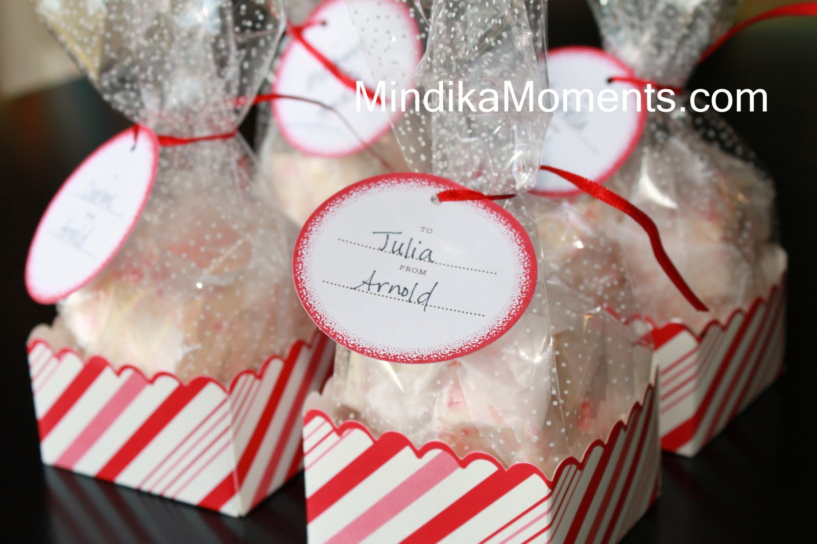 ... candy cane inspired packages purchased at my local craft store
