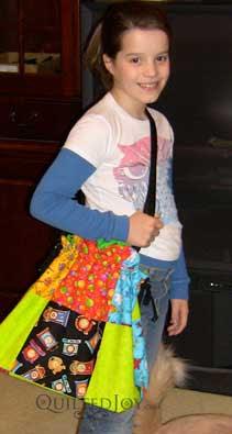 Emily modeling her original tote bag