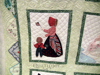 July block in a Hankie Lady Obsession Quilt with custom quilting by Angela Huffman - QuiltedJoy.com