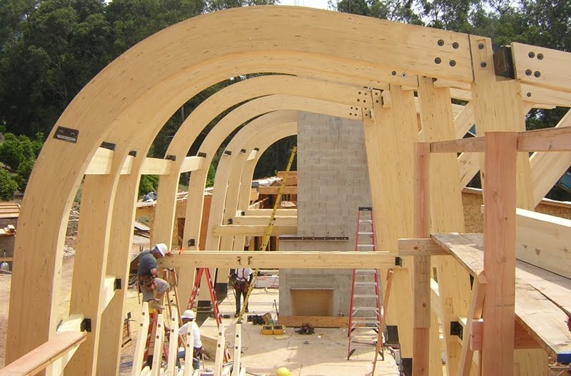 Curved Laminated Wood Beams ~ Lamboo architectural structural bamboo november