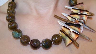 (Item # A7) Jasper Shell Necklace - $75