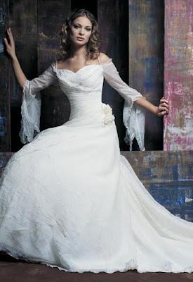 3/4 sleeves wedding dress