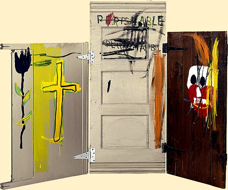 aad243545a83d Gravestone 1987. Acrylic, oil and oil paintstick on wood. Collection Enrico  Navarra