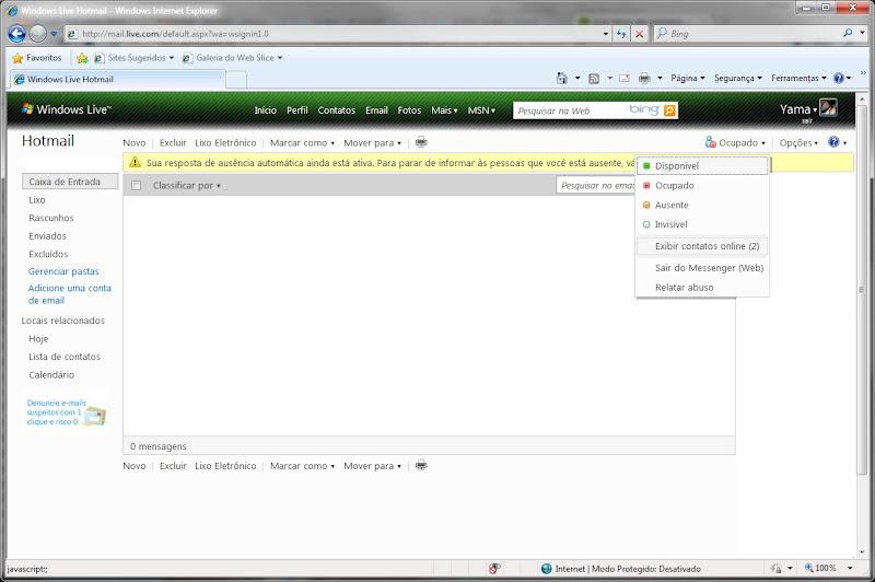 Windows Live Messenger dentro do Hotmail.